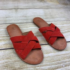 Like New Frye Carls Criss Cross Slide Sandals 7